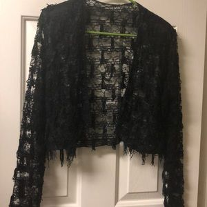 Open Front Black Tassel Lace sweater shrug